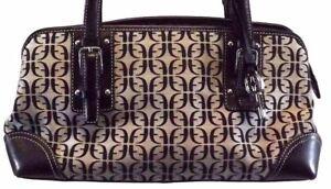 Fossil Handbag Signature Shoulder Bag Purse Black Gray Canvas Leather logo