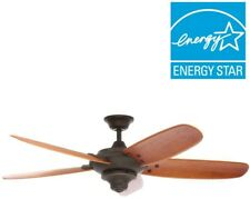 56 in. Ceiling Fan 5 Hand Carved Wood Blades Oil Rubbed Bronze 3-speed Remote