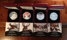 SET of 4 Silver Canadian $20 White-Tailed Deer 2014 coins, 1 oz each- 7500 made