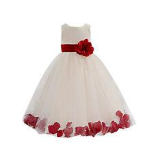 Girls 1 Rose Dress Flower Princess Sleeveless Formal Party Wedding Bridesmaid