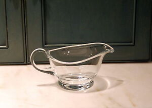 Hand Blown Crystal Large Applied Handle Sauce Boat