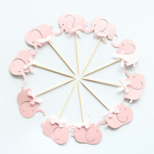 10 x Cute Pink Baby Girl Elephant Cake Picks Cupcake Toppers Flags Baby Shower