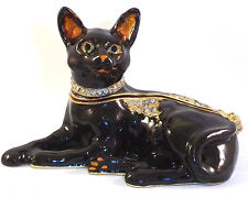 TREASURES BLACK CAT PEWTER BEJEWELED HINGED TRINKET / JEWELRY /  PILL BOX