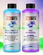 Nail Gel Polish Prep + And Wipe & Remover UV LED Manicure Acetone 2x100ml