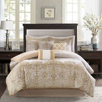 BEAUTIFUL 7PC ELEGANT RICH LUXURIOUS GOLD IVORY WHITE BEIGE SCROLL COMFORTER SET