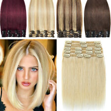 Clip In 100% Real Remy Human Hair Extensions Full Head Long Medium Short BEST US
