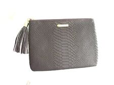 GiGi New York Leather Clutch NEW All-in-One Small Python Embossed Black Berry