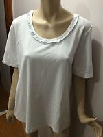 BNWT Ladies Sz S/16 Myer BIB Lovely White Short Sleeve Round Ruffle Neck Top