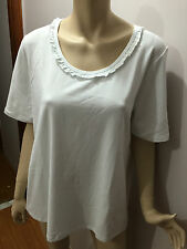 BNWT Ladies Sz S/16 Myer BIB Lovely White Short Sleeve Round Ruffle Neck Top
