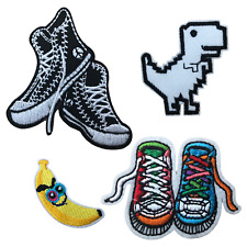 Small Retro Style Sneakers Evil Banana Pixel Dinosaur Embroidered Iron On Patch