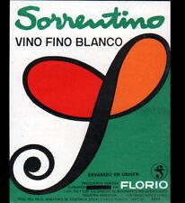 """ETIQUETTE ANCIENNE de VIN / VINO FINO BLANCO """"SORRENTINO"""" FLORIO"""