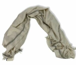 """LARGE SQUARE FRINGED SCARF WRAP 43"""" X 54"""" LIGHTWEIGHT SOFT COZY TIGHT KNIT NWT"""