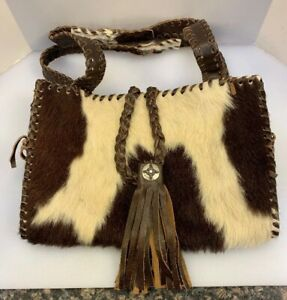 "Boho Western Cow Hair Cowhair Leather Handbag Purse Custom 12"" x 8"" H x 5.5"""
