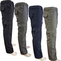 Mens Elasticated Winter Fleece Lined Work Trousers Cargo Combat Warm Pants S-4XL