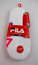 Fila no show socks white 2 pairs ladies size 9-11 pink turquoise accents golf