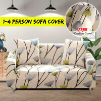 1/2/3/4 Seater Sofa Covers Slipcover Elastic Couch Floral Protector +  z