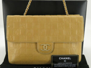 CHANEL CC CHOCOLATE BAR ICON BEIGE LEATHER BOTH SIDE CHAIN SHOULDER BAG EY578