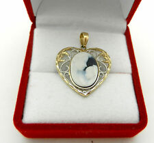 "Real 10K Yellow Gold HEART CAMEO ""Mother & Child"" Charm Pendant BEAUTIFUL"