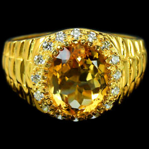 NATURAL AAA ORANGISH YELLOW CITRINE & WHITE CZ STERLING 925 SILVER RING SIZE 9.5