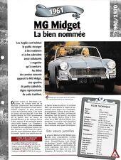 VOITURE MG MIDGET Mk II FICHE TECHNIQUE AUTOMOBILE 1961 COLLECTION CAR