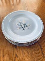 Homer Laughlin KRAFT BLUE White Flower Center Platinum Trim Dinner Plate Set 6