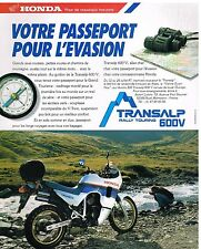 Publicité Advertising 1987 Moto Honda Transalp Rally Touring 600V