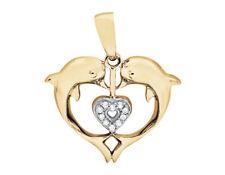 ffc0e07c87e5 10 Quilates Oro Amarillo Corazón Delfín Diamante 1.9cm Charm Colgante 0