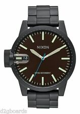 New 2015 Nixon Watch Chronicle SS 48.5mm All Black / Brown Womens Mens Nx405