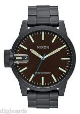 New 2015 Nixon Watch Chronicle SS 48.5mm All Black / Brown Womens Mens Nx405