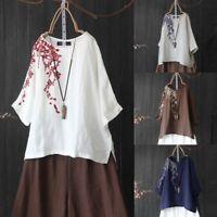 ZANZEA Women 1/2 Sleeve Floral Print Shirt Tops Asymmetrical Split Hem Blouse