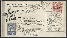 Curacao covers 1934 NVPH  LP17 special Flightcover Aruba to Curacao