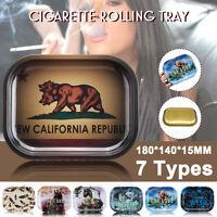 Tinplate Cigarette Rolling Tray Tobacco Smoking Metal Plate Mini Holder Tool