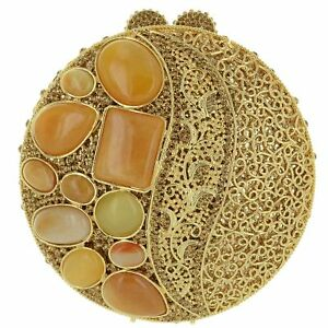 WOMEN'S Luxury Evening Bag HARD SHELL Natural Stone & Crystal Evening Clutch