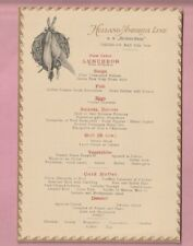 Holland America shipping line Luncheon menu, S.S. Rotterdam. 1923