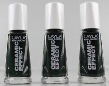 3x LAYLA Cosmetic CERAMIC EFFECT ce10 EFFETTO SMALTO NAIL POLISH VERDE SCURO cs3-a
