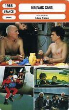 Movie Card. Fiche Cinéma. Mauvais sang (France) Léos Carax 1986