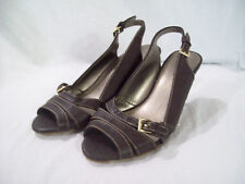 Predictions Women's Brown Vegan Leather Strappy Slingback Heels Shoes size 7.5
