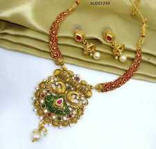Indian Pearls Necklace Fashion Kundan Pendant Set with Meenakari Jewellery