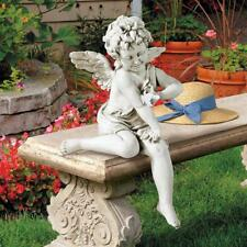 Peaceful Presence Angel Sitter Design Toscano Antique Stone Finish Garden Statue