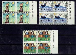 Faroe Islands.  1979.  Chidren's drawings.  Complete blocks of 4 with tabs. MNH.