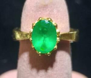 Emerald 0.77 Carat and 18K Yellow Gold Ring - Designed by David Sacco - Size 4