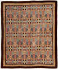 Vintage French Art Deco Blue, Rose and Beige Handwoven Wool Rug BB4731
