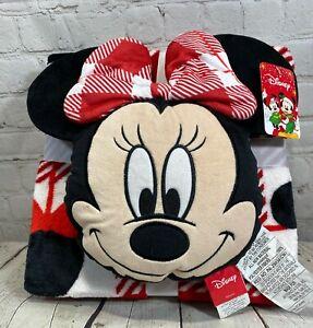 NWT Disney Christmas Minnie Mouse Pillow & Fleece Blanket Set