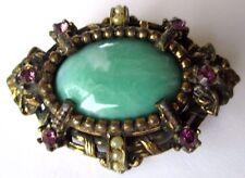 broche  bijou vintage couleur or vieilli cristaux améthyste cabochon vert 348
