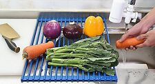 VECELO Roll Up Dish Drying / Drainer Rack - Blue