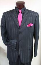 40 R Black White Stripe Suit Tuxedo Gangster Prom Tux Zoot Coat Pants TUXXMAN