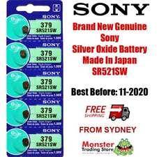 5 PCS SONY SR521SW 379 SILVER OXIDE BATTERY MADE IN JAPAN BEST BEFORE : 11/2020