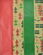 Christmas Kraft Tissue Paper Printed and Solid- 100 Sheets