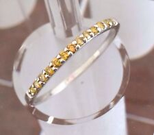 RARE EXOTIC .27ct Yellow Diamond Band Stackable Anniversary Ring 925 Silver sz11