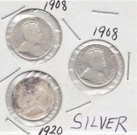 World Silver Coins Mixed As Pictured 3 coins KEVII & KGV Newfoundland & Canada